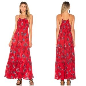 Free People Garden Party Floral Maxi Red Combo M